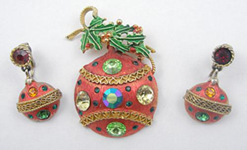 Newly Added Weiss Christmas Ornament Brooch Set