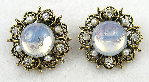 Newly Added Signed Art Glass Moonstone Earrings