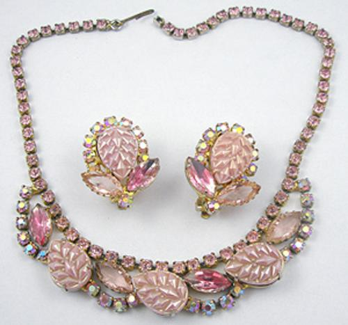 Newly Added Pink Molded Glass Necklace Set