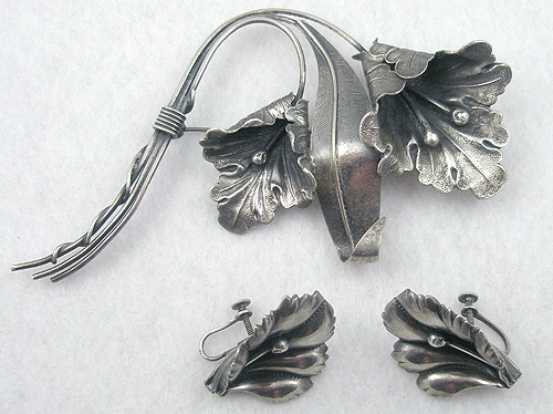 Newly Added Sterling Flower Brooch Set