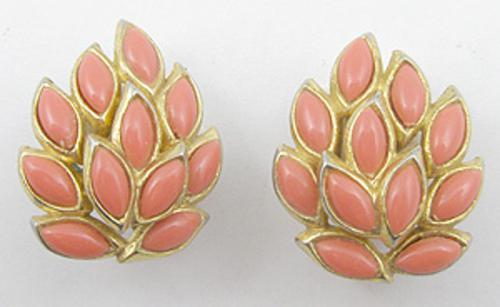 Newly Added Trifari Coral Leaves Earrings
