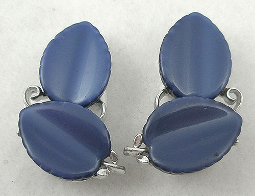 Newly Added Lisner Blue Leaves Earrings