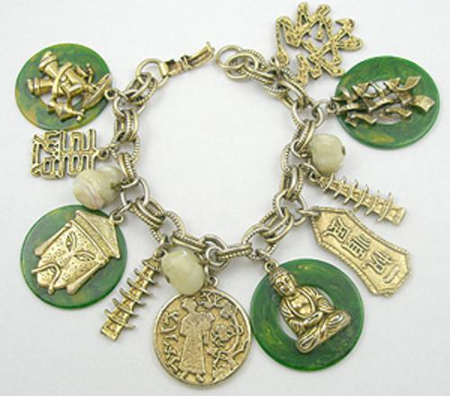 Newly Added Asian Theme Bakelite Charm Bracelet