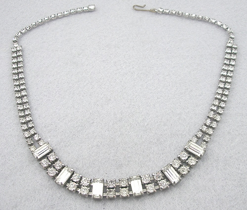 Newly Added Rhinestone Baguette Necklace