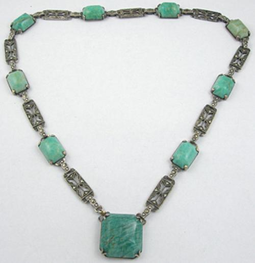 Newly Added Art Deco Sterling Chrysoprase Necklace
