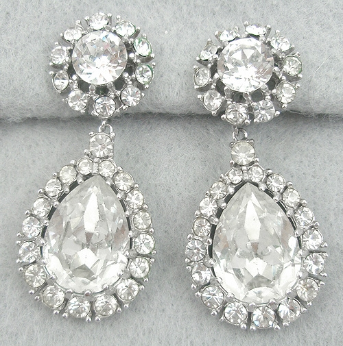 Newly Added Ciner Rhinestone Drop Earrings