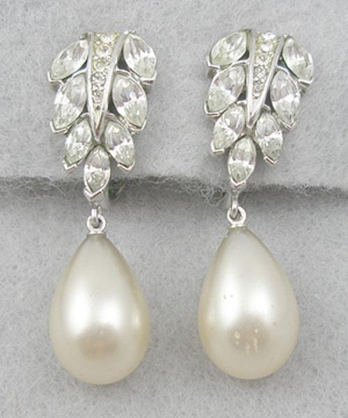 Newly Added Trifari Rhinestone Pearl Drop Earrings