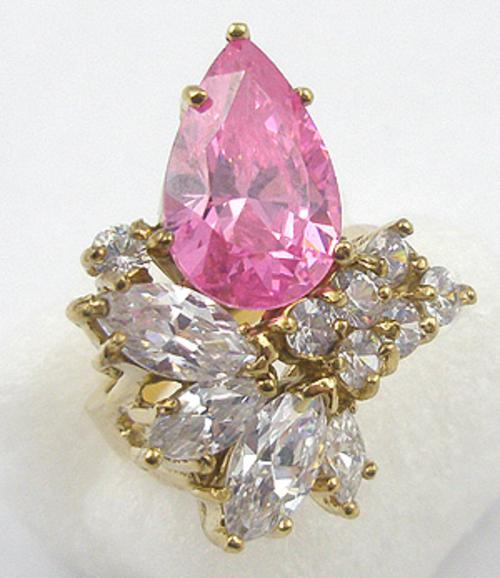Newly Added Signed Sterling Pink CZ Ring