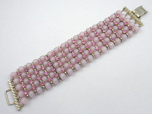 Newly Added Pink Lucite Bead and Rhinestone Bracelet