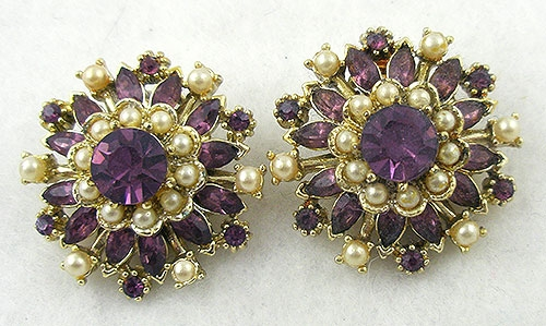 Newly Added Coro Amethyst Rhinestone Earrings
