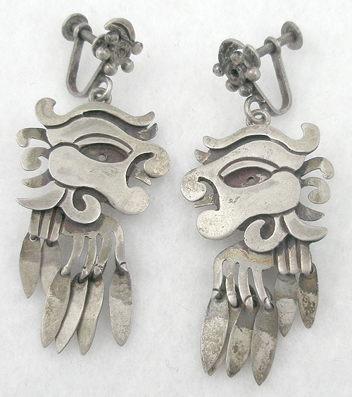 Newly Added Mexican Silver Pre-Columbian Earrings