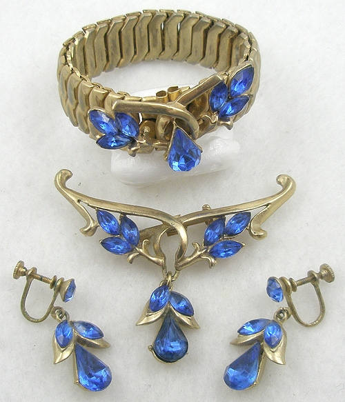 Newly Added Japan Blue Rhinestone Expansion Bracelet Demi-Parure