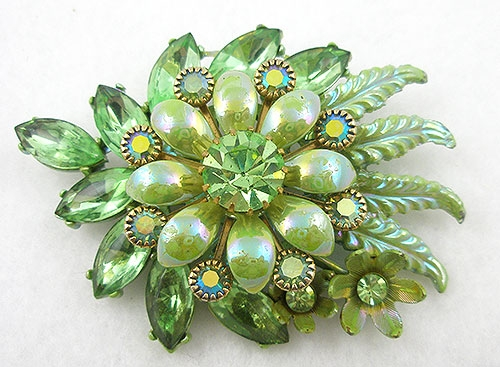 Newly Added Lime Enameled Rhinestone Floral Brooch