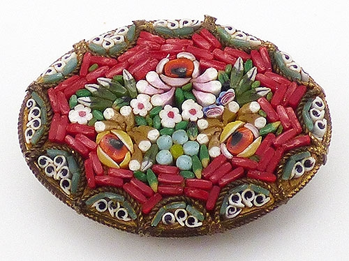 Newly Added Red Mosaic Floral Brooch