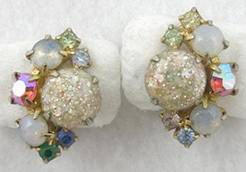 Newly Added Lucite Confetti & Rhinestone Earrings