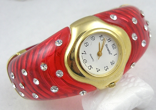 Newly Added Bonetto Red Lucite Cuff Quartz Watch