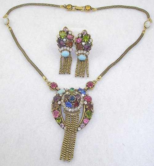 Newly Added Weiss Colorful Rhinestone Necklace Set