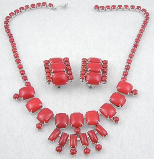 Newly Added Red Glass Cabochons Necklace Set