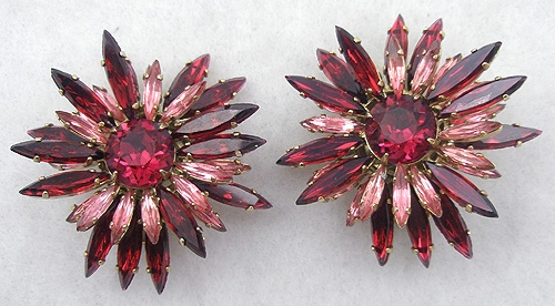 Newly Added Schreiner Red & Pink Navette Earrings