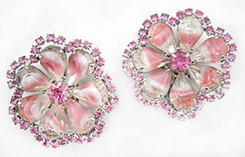 Newly Added Pink and White Givre Glass Earrings