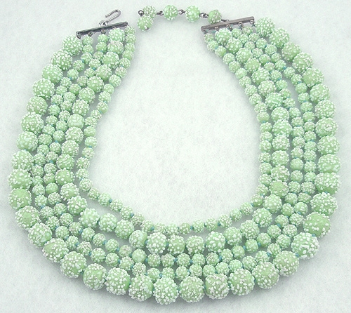Newly Added Celadon Green Art Glass Beads 5-Strand Necklace