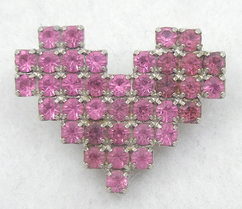 Newly Added Dorothy Bauer Pink Rhinestone Heart Brooch