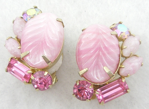 Newly Added Weiss Pink Molded Glass Earrings