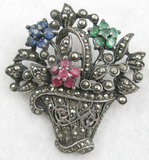 Newly Added Sterling Marcasite Flower Basket Brooch