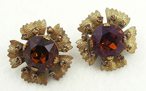 Newly Added Miriam Haskell Dark Topaz Rhinestone Earrings