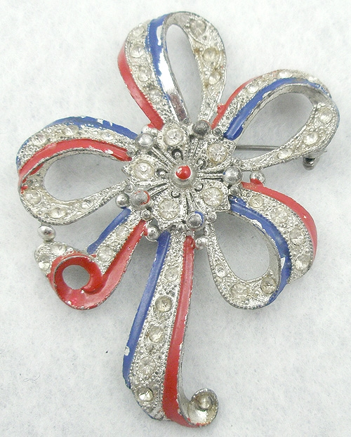 Newly Added Patriotic Pot Metal Bow Brooch