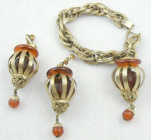 Newly Added Napier Caged Amber Lucite Charm Bracelet Set