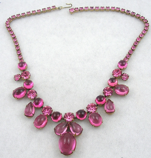 Newly Added Pink Glass Cabochon & Rhinestone Necklace