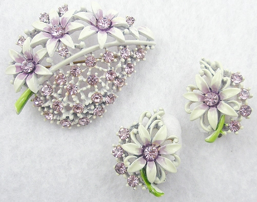 Newly Added Mint Green Lavender Rhinestone Floral Brooch Set
