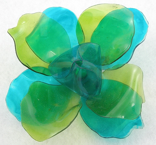 Newly Added Turquoise & Green Cellulose Acetate Flower Brooch