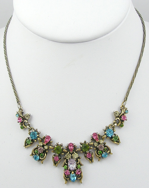 Newly Added Hollycraft 1950 Pastel Rhinestone Necklace
