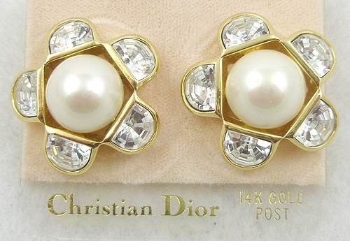 Newly Added Christian Dior Faux Pearl & Rhinestone Earrings