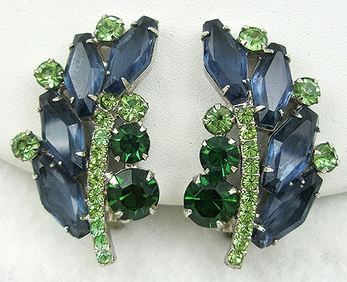 Newly Added DeLizza & Elster Blue & Green Rhinestone Earrings