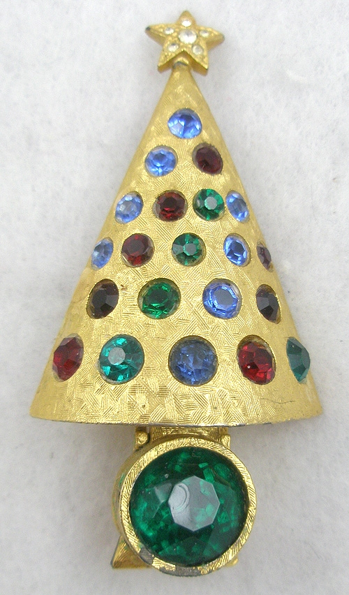 """Crosses For Sale >> Hattie Carnegie """"Light-Up"""" Christmas Tree Brooch - Garden Party Collection Vintage Jewelry"""