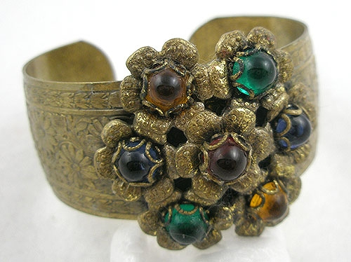 Newly Added 1930's Etched Brass Floral Bracelet