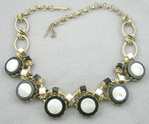 Newly Added German Black Glass & Mother-of-Pearl Necklace