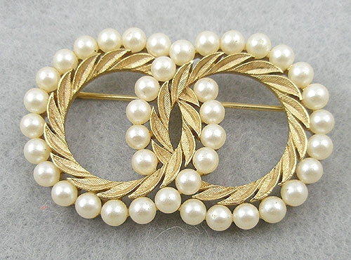 Newly Added Trifari Faux Pearl Double Circle Pin