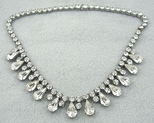 Newly Added Vintage Rhinestone Teardrop Necklace
