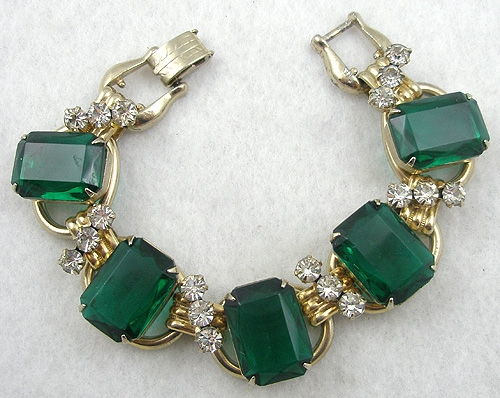 Newly Added DeLizza & Elster Emerald Rhinestone Bracelet