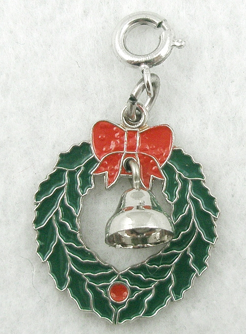 Newly Added Wells Sterling Christmas Wreath Charm