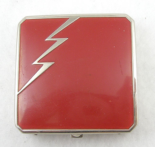 Newly Added Art Deco Red Lightning Compact