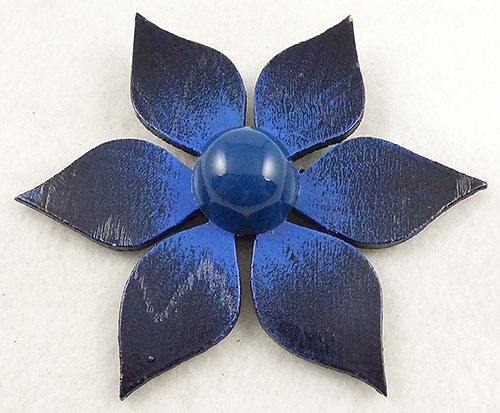 Newly Added Signed Helen Blue Wooden Flower Brooch