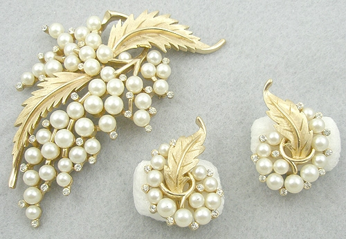 Newly Added Trifari Pearl Bouquet Brooch and Earrings Set