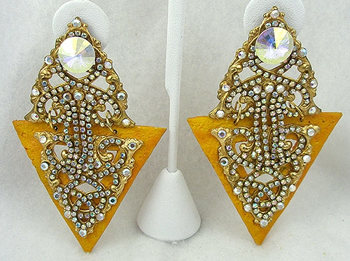 Newly Added Marigold Triangle and Crystal Aurora Statement Earrings