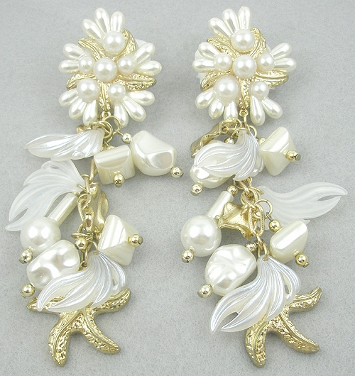 Newly Added Faux Pearl Golden Starfish Dangle Earrings