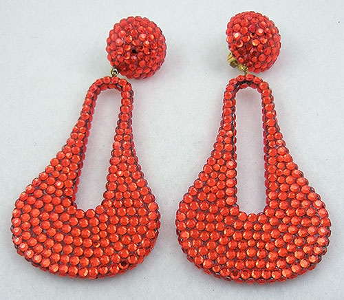 Newly Added 1980's Orange Rhinestone Earrings